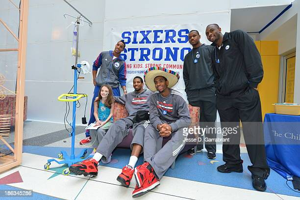 Evan Turner Darius Morris Hollis Thompson Lavoy Allen and James Anderson of the Philadelphia 76ers at the Childrens Hospital of Philadelphia on...
