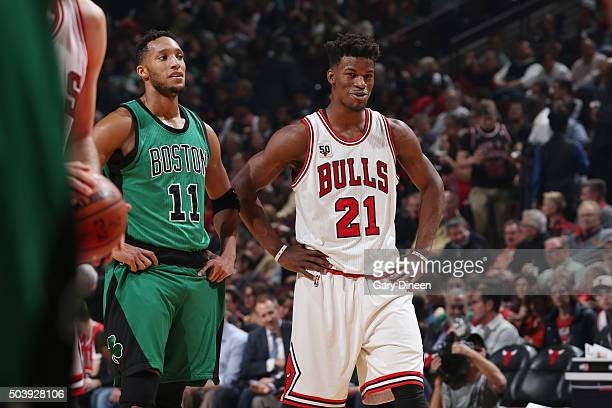 Evan Turner of the Boston Celtics and Jimmy Butler of the Chicago Bulls are seen during the game on January 7 2016 at the United Center in Chicago...