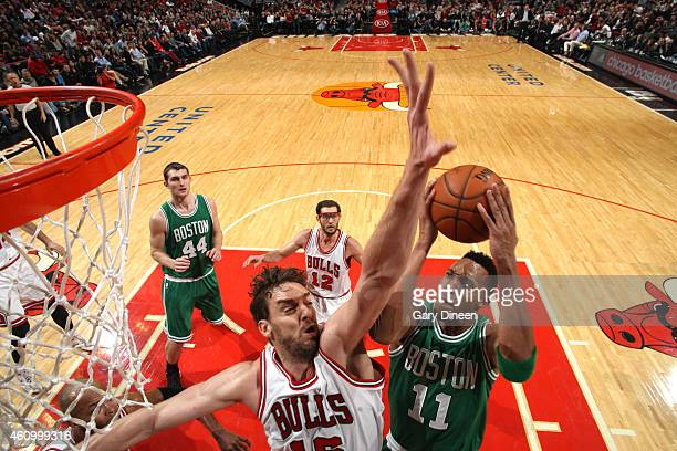 Evan Turner of the Boston Celtics goes up for a shot against the Chicago Bulls on January 3 2015 at the United Center in Chicago Illinois NOTE TO...