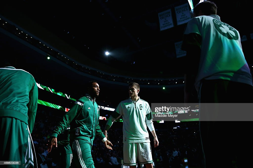 Evan Turner #11 of the Boston Celtics is announced in the starting lineup before the game against the Indiana Pacers at TD Garden on April 1, 2015 in Boston, Massachusetts.