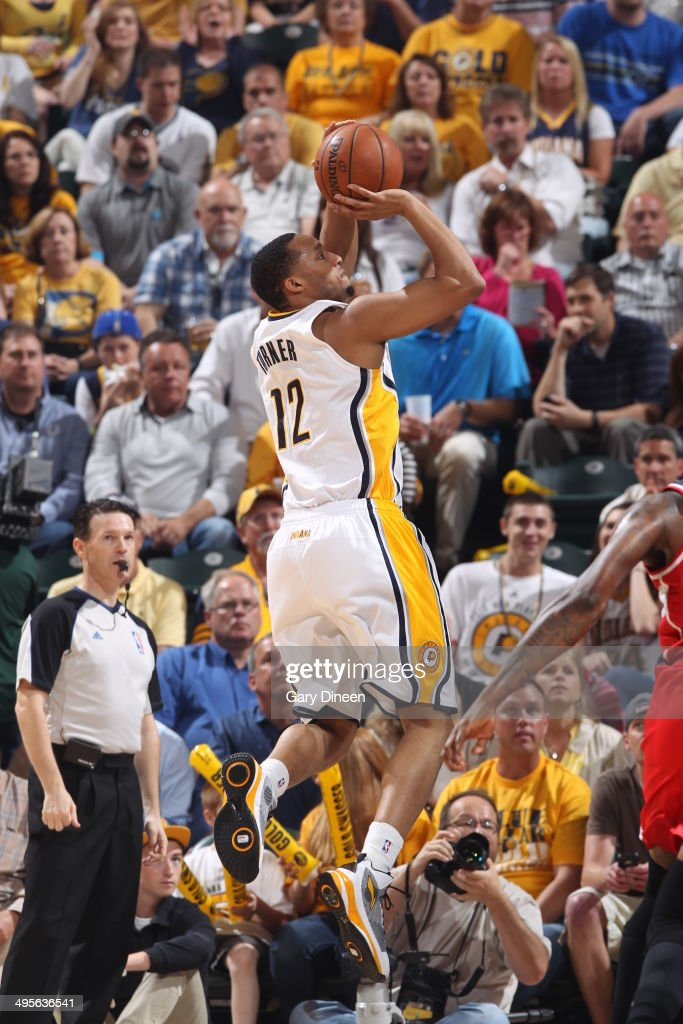 <a gi-track='captionPersonalityLinkClicked' href=/galleries/search?phrase=Evan+Turner&family=editorial&specificpeople=4665764 ng-click='$event.stopPropagation()'>Evan Turner</a> #12 of the Indiana Pacers shoots against the Washington Wizards in Game Five of the Eastern Conference Semifinals during the 2014 NBA Playoffs on May 13, 2014 at Bankers Life Fieldhouse in Indianapolis, Indiana.