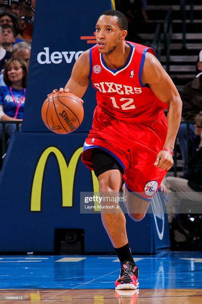 Evan Turner #12 of the Philadelphia 76ers brings the ball up court against the Oklahoma City Thunder on January 4, 2013 at the Chesapeake Energy Arena in Oklahoma City, Oklahoma.