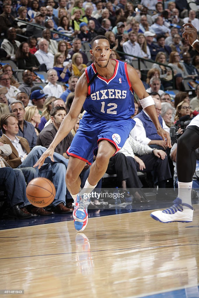 <a gi-track='captionPersonalityLinkClicked' href=/galleries/search?phrase=Evan+Turner&family=editorial&specificpeople=4665764 ng-click='$event.stopPropagation()'>Evan Turner</a> #12 of the Philadelphia 76ers dribbles the ball against the Dallas Mavericks on November 18, 2013 at the American Airlines Center in Dallas, Texas.