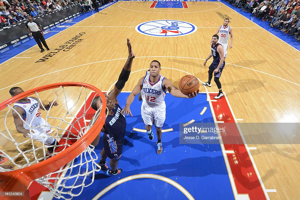 Evan Turner #12 of the Philadelphia 76ers drives to the basket against the Charlotte Bobcats during the game at the Wells Fargo Center on February 9, 2013 in Philadelphia, Pennsylvania.