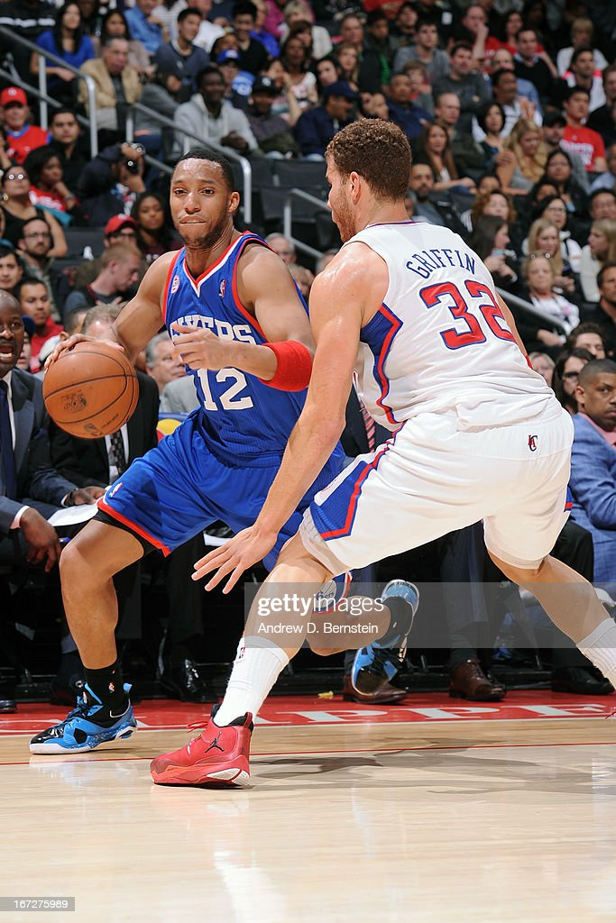 Evan Turner #12 of the Philadelphia 76ers drives to the basket against the Los Angeles Clippers at Staples Center on March 20, 2013 in Los Angeles, California.
