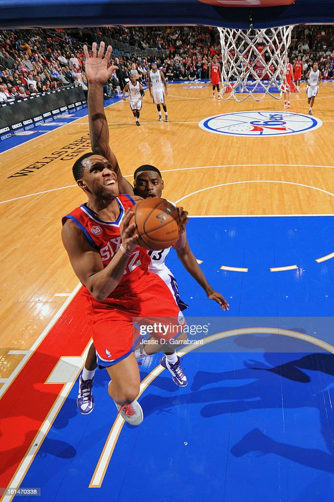 <a gi-track='captionPersonalityLinkClicked' href=/galleries/search?phrase=Evan+Turner&family=editorial&specificpeople=4665764 ng-click='$event.stopPropagation()'>Evan Turner</a> #12 of the Philadelphia 76ers goes up to the basket for a layup against the Sacramento Kings during the game at the Wells Fargo Center on February 1, 2013 in Philadelphia, Pennsylvania.