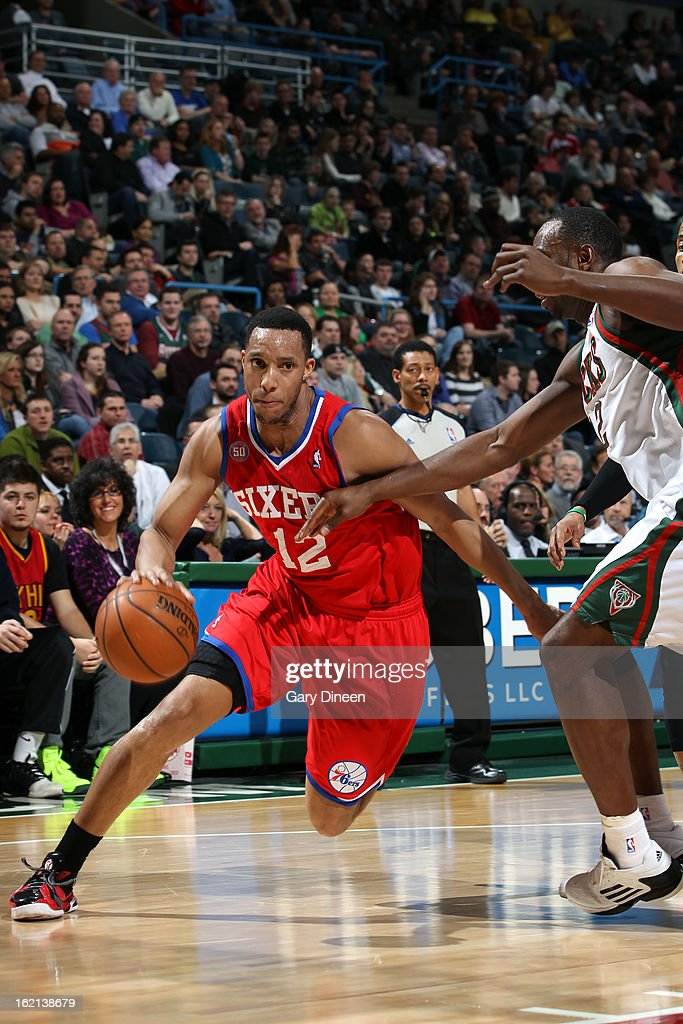 Evan Turner #12 of the Philadelphia 76ers handles the ball against the Milwaukee Bucks on February 13, 2013 at the BMO Harris Bradley Center in Milwaukee, Wisconsin.