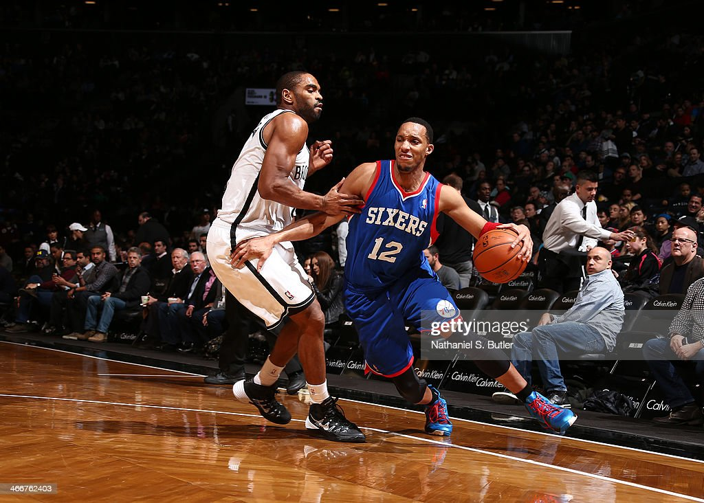 <a gi-track='captionPersonalityLinkClicked' href=/galleries/search?phrase=Evan+Turner&family=editorial&specificpeople=4665764 ng-click='$event.stopPropagation()'>Evan Turner</a> #12 of the Philadelphia 76ers in a game between the Philadelphia 76ers and the Brooklyn Nets during a game at Barclays Center in Brooklyn.