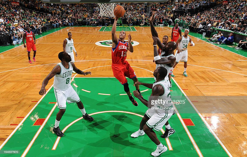 <a gi-track='captionPersonalityLinkClicked' href=/galleries/search?phrase=Evan+Turner&family=editorial&specificpeople=4665764 ng-click='$event.stopPropagation()'>Evan Turner</a> #12 of the Philadelphia 76ers shoots the ball against the Boston Celtics on October 21, 2012 at the TD Garden in Boston, Massachusetts.