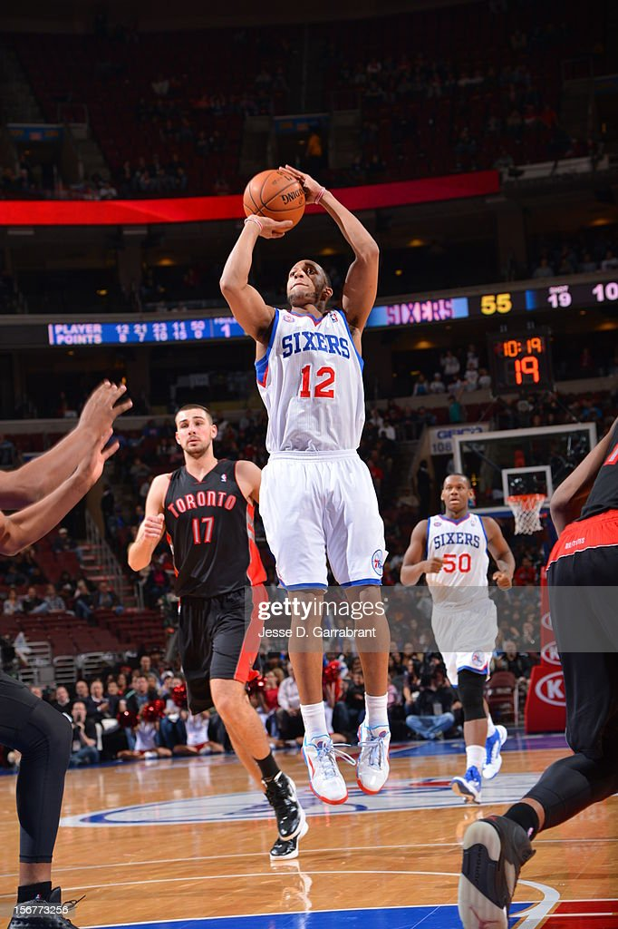 Evan Turner #12 of the Philadelphia 76ers shoots the ball against the Toronto Raptors during the game at the Wells Fargo Center on November 20, 2012 in Philadelphia, Pennsylvania.