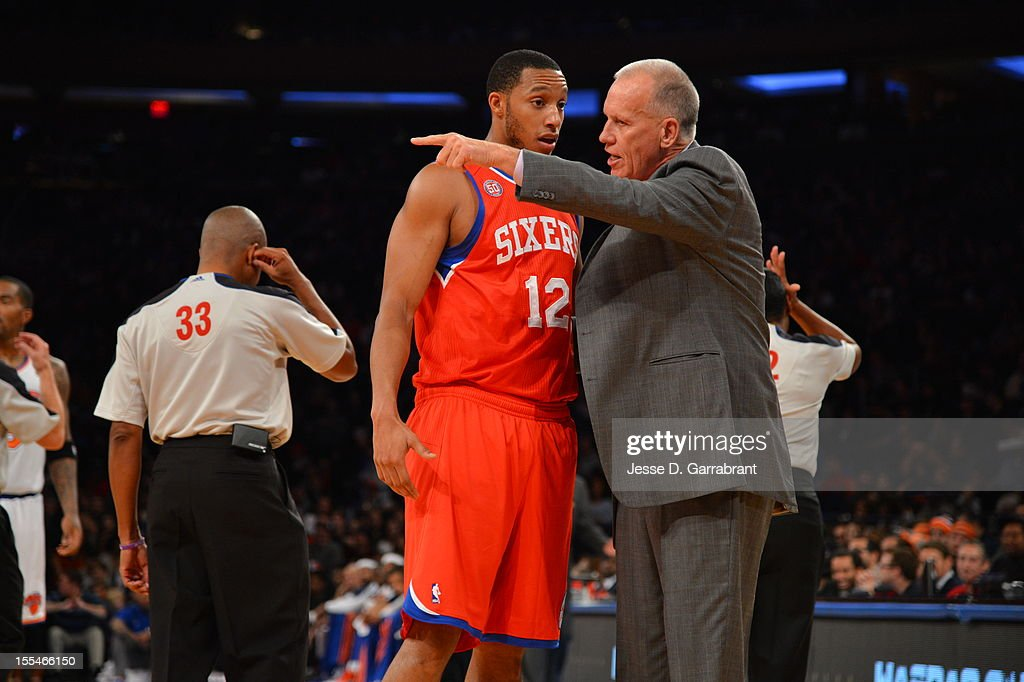 Evan Turner #12 of the Philadelphia 76ers speaks with head coach Doug Collins against the New York Knicks on November 4, 2012 at Madison Square Garden in New York City.