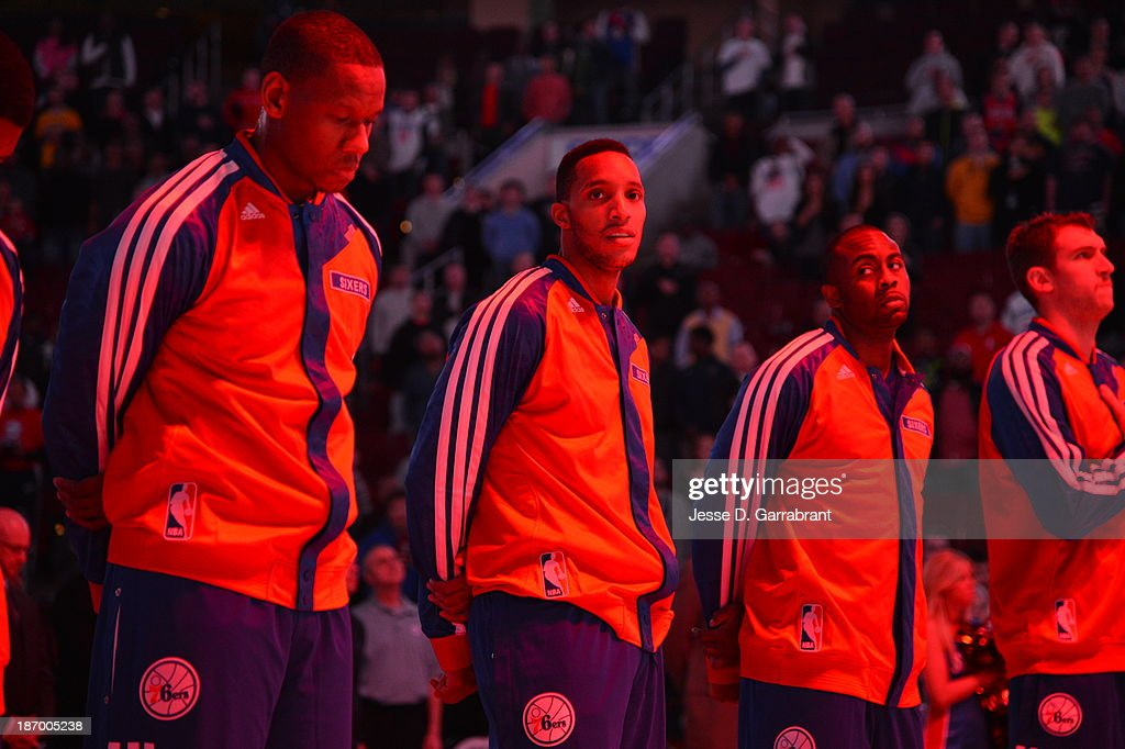 <a gi-track='captionPersonalityLinkClicked' href=/galleries/search?phrase=Evan+Turner&family=editorial&specificpeople=4665764 ng-click='$event.stopPropagation()'>Evan Turner</a> #12 of the Philadelphia 76ers stands on the court against the Golden State Warriors at the Wells Fargo Center on November 4, 2013 in Philadelphia, Pennsylvania.