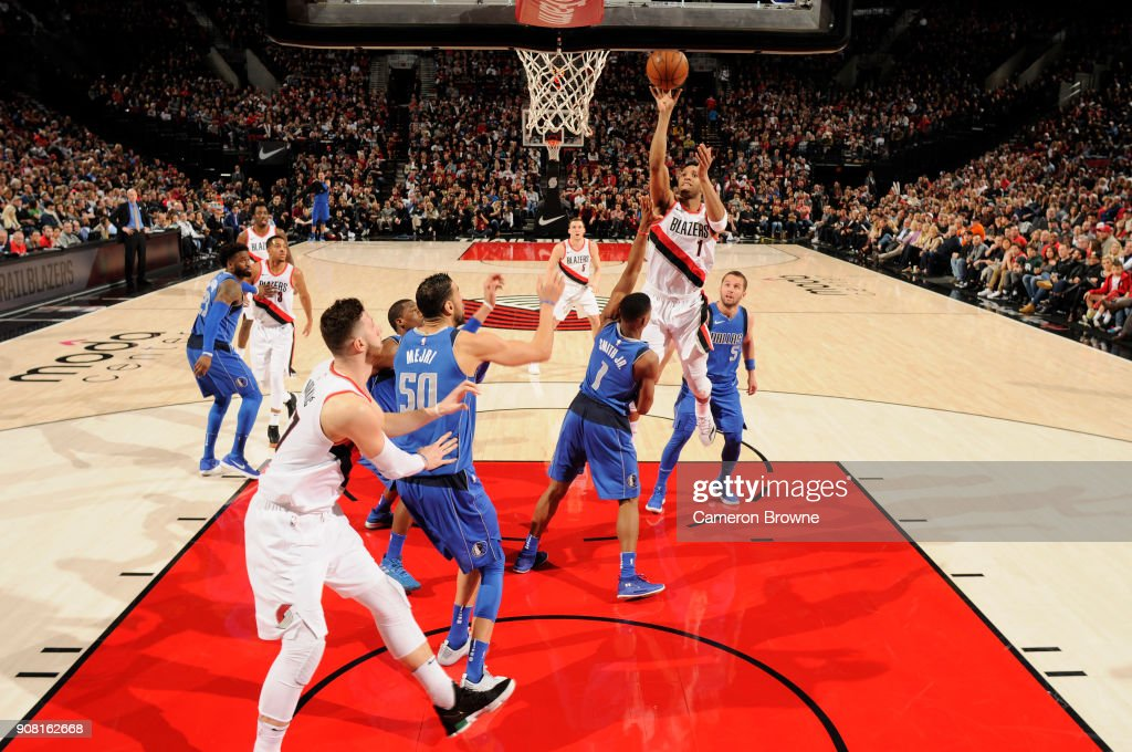 Evan Turner #1 of the Portland Trail Blazers shoots the ball against the Dallas Mavericks on January 20, 2018 at the Moda Center in Portland, Oregon.