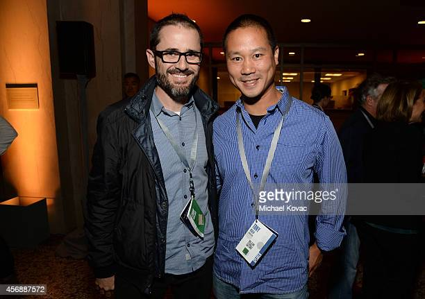 Evan Williams and Zapposcom CEO Tony Hsieh attend the Vanity Fair New Establishment Summit Cockatil Party on October 8 2014 in San Francisco...