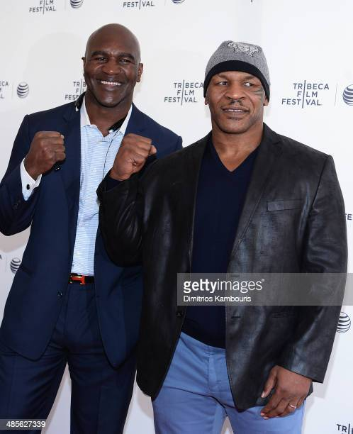 Evander Holyfield and Mike Tyson attend Tribeca Talks After the Movie 'Champs' during the 2014 Tribeca Film Festival at SVA Theater on April 19 2014...