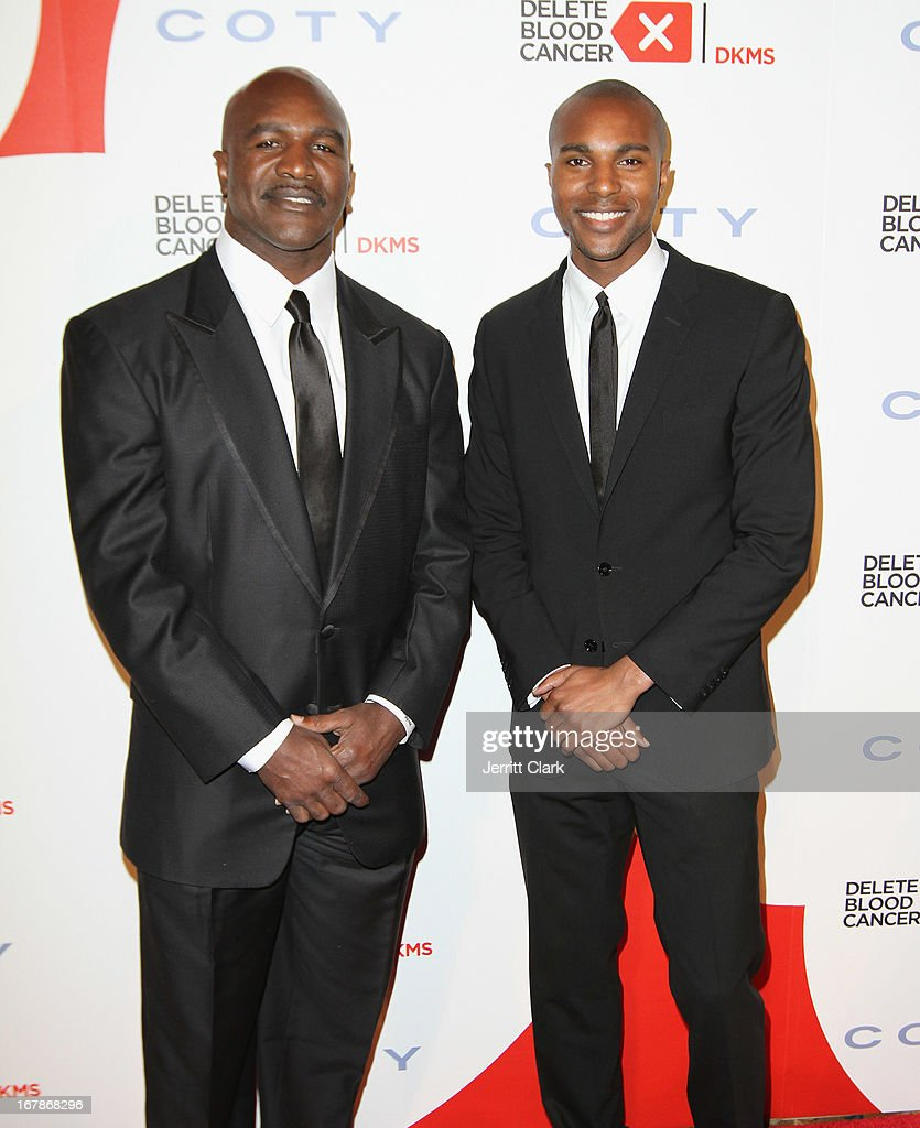 Evander Holyfield and son Evander Holyfield Jr. attend the 2013 Delete Blood Cancer Gala at Cipriani Wall Street on May 1, 2013 in New York City.