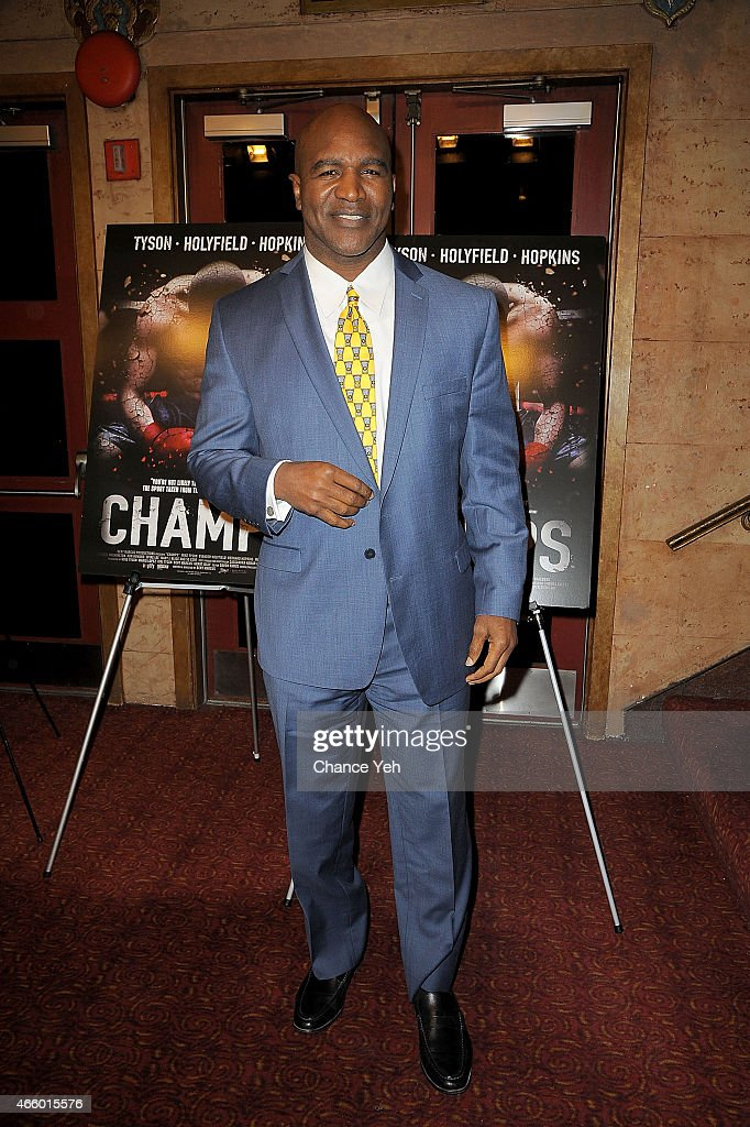<a gi-track='captionPersonalityLinkClicked' href=/galleries/search?phrase=Evander+Holyfield&family=editorial&specificpeople=194938 ng-click='$event.stopPropagation()'>Evander Holyfield</a> attends 'Champs' New York Screening at Village East Cinema on March 12, 2015 in New York City.