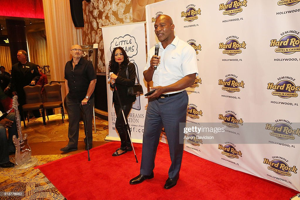 Evander Holyfield attends Phil Collins Press Conference for the Little Dreams Foundation at Seminole Hard Rock Hotel & Casino - Hard Rock Cafe Hollywood on March 4, 2016 in Hollywood, Florida.