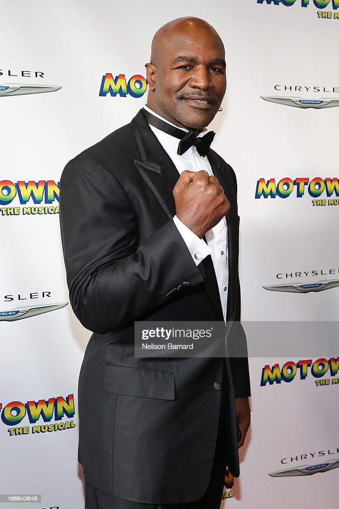 <a gi-track='captionPersonalityLinkClicked' href=/galleries/search?phrase=Evander+Holyfield&family=editorial&specificpeople=194938 ng-click='$event.stopPropagation()'>Evander Holyfield</a> attends the Broadway opening night for 'Motown: The Musical' at Lunt-Fontanne Theatre on April 14, 2013 in New York City.