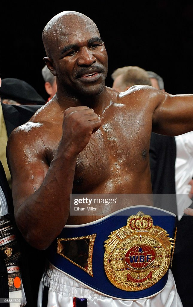 <a gi-track='captionPersonalityLinkClicked' href=/galleries/search?phrase=Evander+Holyfield&family=editorial&specificpeople=194938 ng-click='$event.stopPropagation()'>Evander Holyfield</a> celebrates his eighth-round TKO victory over Francois Botha in their heavyweight bout at the Thomas & Mack Center April 10, 2010 in Las Vegas, Nevada.