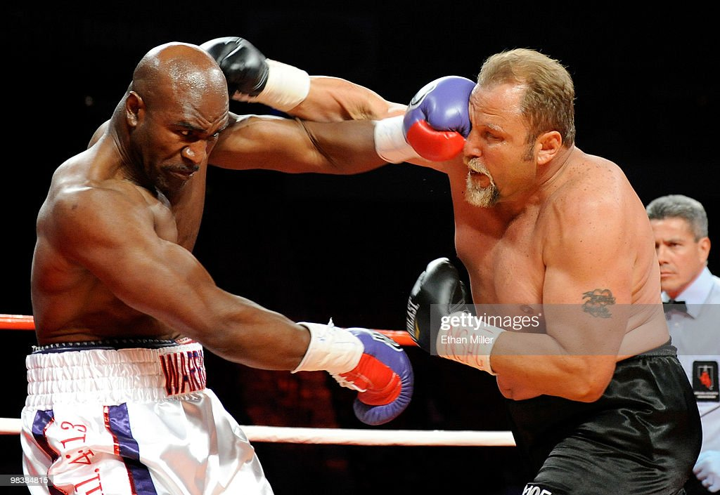 <a gi-track='captionPersonalityLinkClicked' href=/galleries/search?phrase=Evander+Holyfield&family=editorial&specificpeople=194938 ng-click='$event.stopPropagation()'>Evander Holyfield</a> (L) hits <a gi-track='captionPersonalityLinkClicked' href=/galleries/search?phrase=Francois+Botha&family=editorial&specificpeople=220516 ng-click='$event.stopPropagation()'>Francois Botha</a> in the first round of their heavyweight bout at the Thomas & Mack Center April 10, 2010 in Las Vegas, Nevada. Holyfield won by TKO in the eighth round.