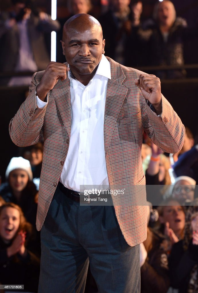 <a gi-track='captionPersonalityLinkClicked' href=/galleries/search?phrase=Evander+Holyfield&family=editorial&specificpeople=194938 ng-click='$event.stopPropagation()'>Evander Holyfield</a> is evicted from the Celebrity Big Brother house at Elstree Studios on January 10, 2014 in Borehamwood, England.