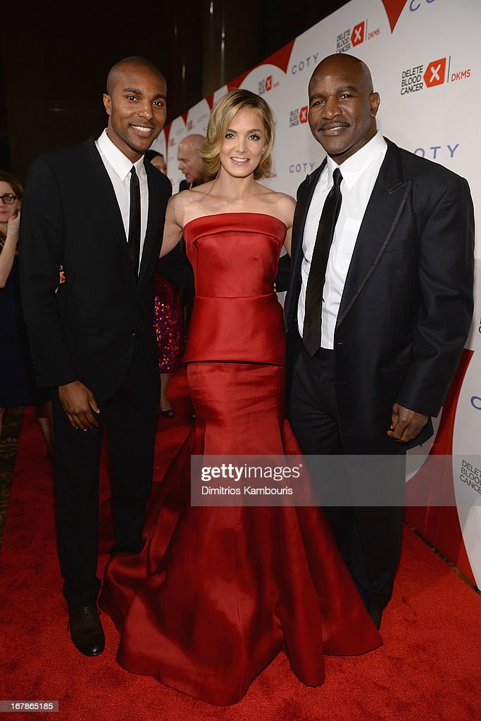 Evander Holyfield Jr., Co-Founder of Delete Blood Cancer Katharina Harf and Boxer Evander Holyfield attend the 2013 Delete Blood Cancer Gala honoring Vera Wang, Leighton Meester and Suzi Weiss-Fischmann on May 1, 2013 in New York City.