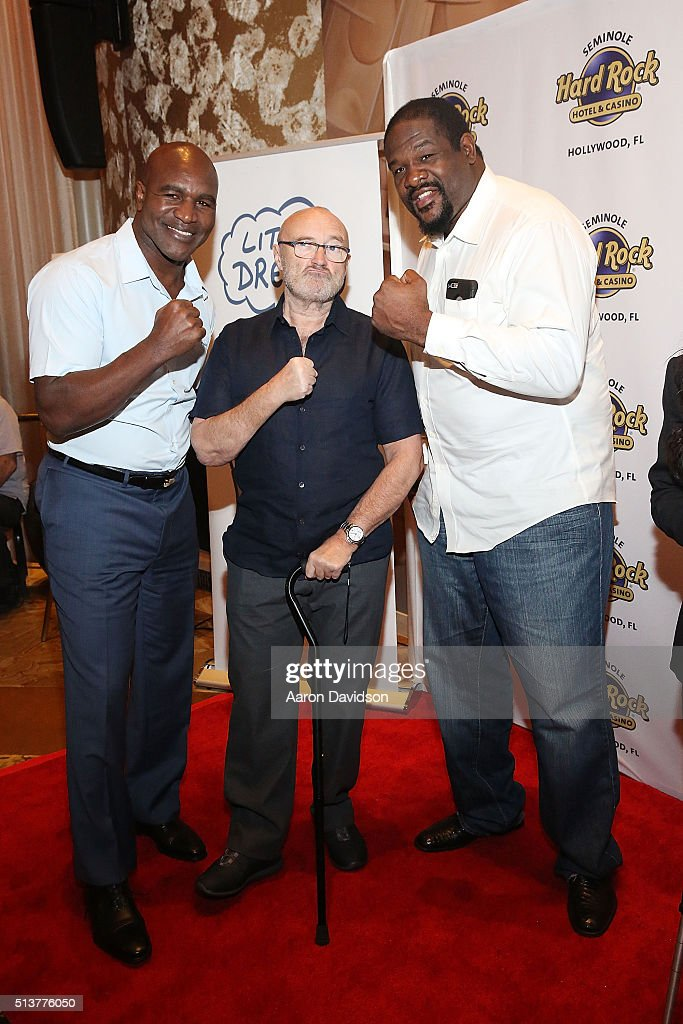 Evander Holyfield, Phil Collins, and Riddick Bowe Press Conference for the Little Dreams Foundation at Seminole Hard Rock Hotel & Casino - Hard Rock Cafe Hollywood on March 4, 2016 in Hollywood, Florida.