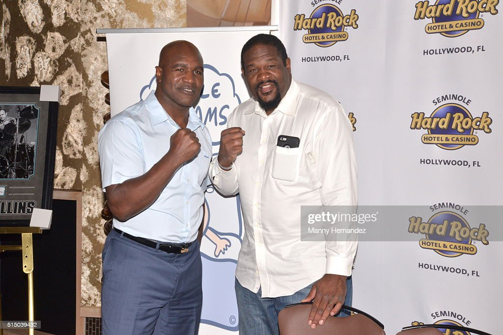 Evander Holyfield, Riddick Bowe attends Press Conference for Little Dreams Foundation at Seminole Hard Rock Hotel & Casino – Hard Rock Cafe Hollywood on March 4, 2016 in Hollywood, Florida.