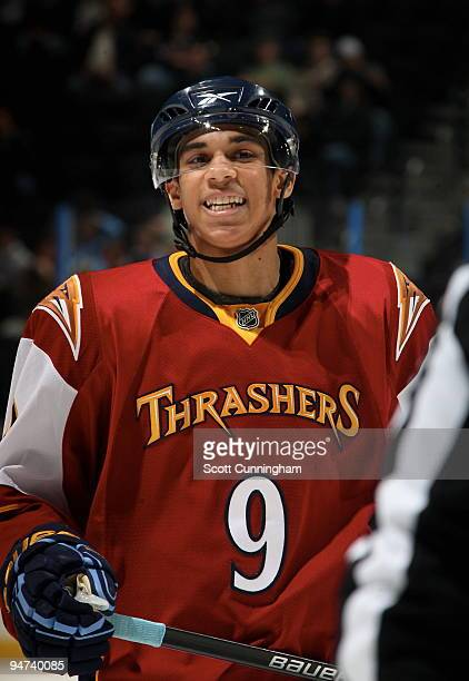 Evander Kane of the Atlanta Thrashers celebrates after the game against the Dallas Stars at Philips Arena on December 17 2009 in Atlanta Georgia The...