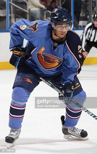 Evander Kane of the Atlanta Thrashers gets set for a faceoff during the preseason game against the Nashville Predators at Philips Arena on September...