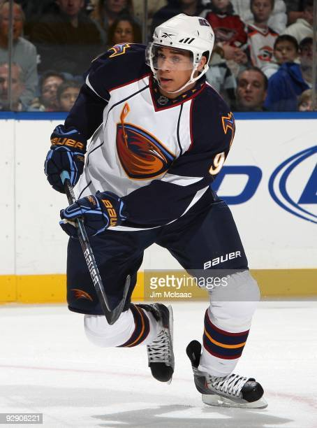 Evander Kane of the Atlanta Thrashers skates against the New York Islanders on November 7 2009 at Nassau Coliseum in Uniondale New York