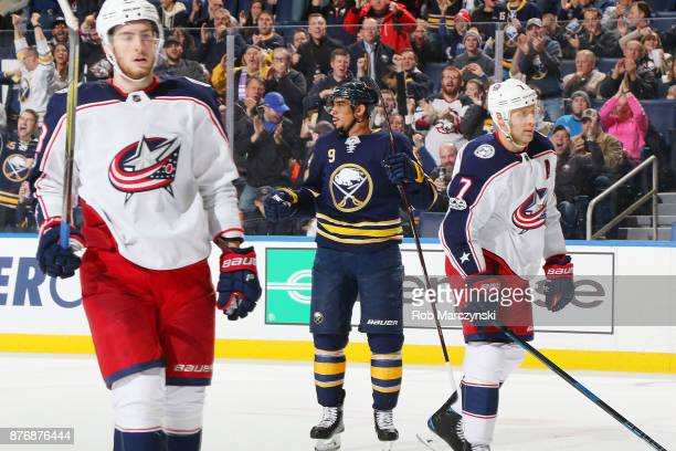 Evander Kane of the Buffalo Sabres celebrates his third period goal against the Columbus Blue Jackets during an NHL game on November 20 2017 at...