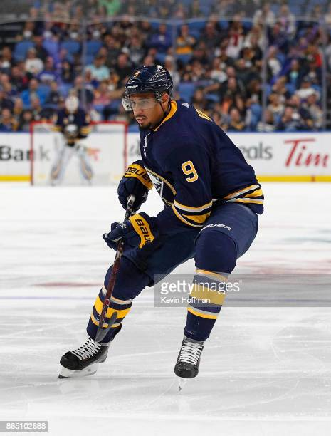 Evander Kane of the Buffalo Sabres during the game against the Vancouver Canucks at the KeyBank Center on October 20 2017 in Buffalo New York