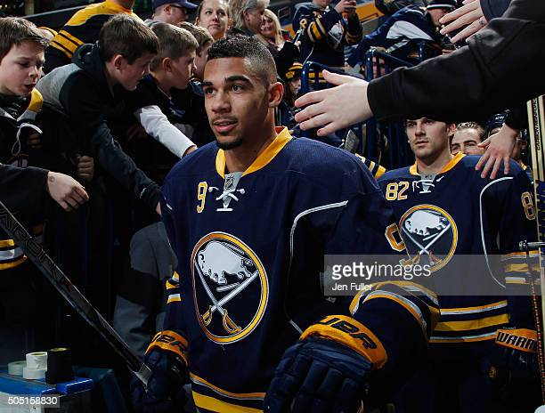 Evander Kane of the Buffalo Sabres heads to the ice to warm up to play the Boston Bruins at First Niagara Center on January 15 2016 in Buffalo New...