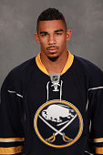 Evander Kane of the Buffalo Sabres poses for his official headshot for the 20152016 season on September 17 2015 at the First Niagara Center in...