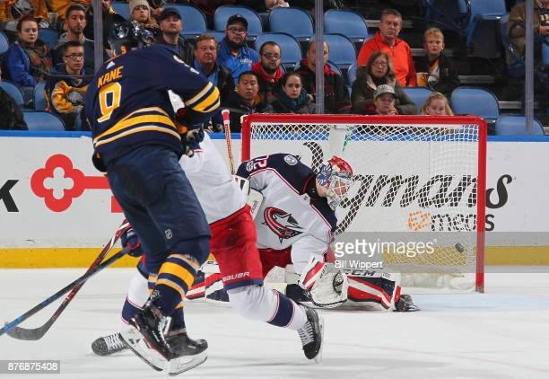 Evander Kane of the Buffalo Sabres scores a third period goal against Sergei Bobrovsky of the Columbus Blue Jackets during an NHL game on November 20...
