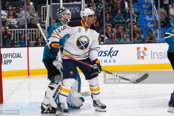 Evander Kane of the Buffalo Sabres skates against Martin Jones of the San Jose Sharks at SAP Center on March 14 2017 in San Jose California