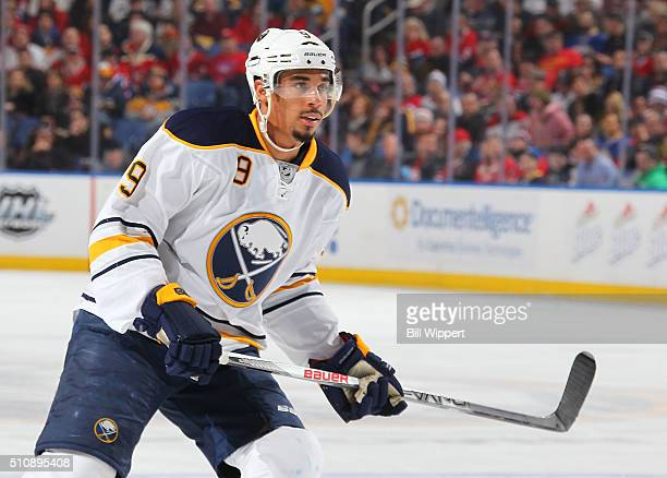 Evander Kane of the Buffalo Sabres skates against the Montreal Canadiens during an NHL game on February 12 2016 at the First Niagara Center in...