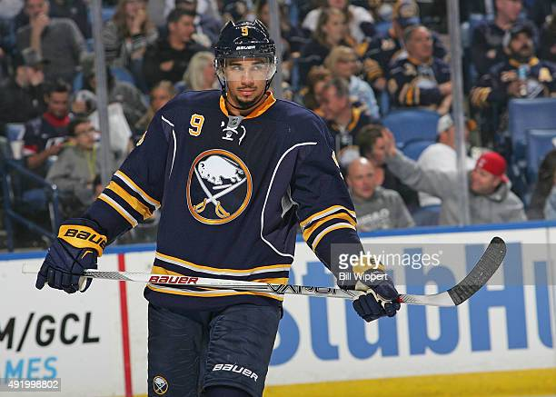 Evander Kane of the Buffalo Sabres skates against the Ottawa Senators on October 8 2015 at the First Niagara Center in Buffalo New York