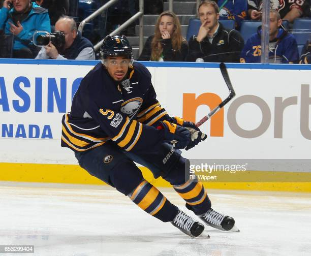 Evander Kane of the Buffalo Sabres skates against the Philadelphia Flyers during an NHL game at the KeyBank Center on March 7 2017 in Buffalo New York