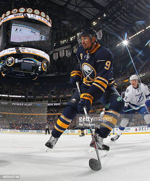 Evander Kane of the Buffalo Sabres skates against the Tampa Bay Lightning on October 10 2015 at the First Niagara Center in Buffalo New York