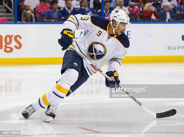 Evander Kane of the Buffalo Sabres skates against the Tampa Bay Lightning during the second period at the Amalie Arena on October 17 2015 in Tampa...