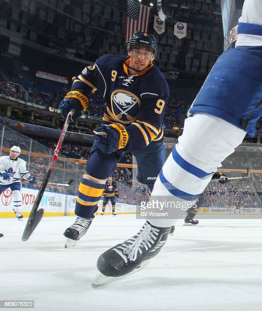 Evander Kane of the Buffalo Sabres skates against the Toronto Maple Leafs during an NHL game at the KeyBank Center on April 3 2017 in Buffalo New York