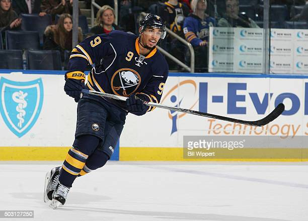 Evander Kane of the Buffalo Sabres skates against the Washington Capitals during an NHL game on December 28 2015 at the First Niagara Center in...