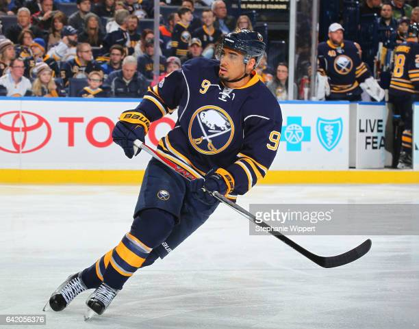 Evander Kane of the Buffalo Sabres skates during an NHL game against the San Jose Sharks at the KeyBank Center on February 7 2017 in Buffalo New York