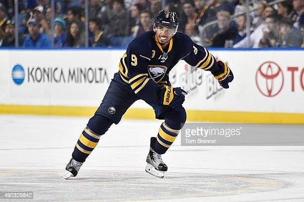 Evander Kane of the Buffalo Sabres skates up the ice during the game against the Ottawa Senators at the First Niagara Center on October 8 2015 in...