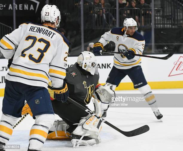 Evander Kane of the Buffalo Sabres slaps in a shot against Malcolm Subban of the Vegas Golden Knights to tie the game at 44 with nine seconds left in...