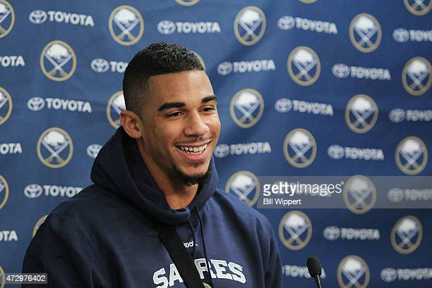 Evander Kane of the Buffalo Sabres speaks to the media on February 21 2015 at the First Niagara Center in Buffalo New York