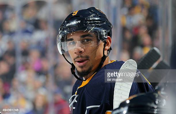 Evander Kane of the Buffalo Sabres watches the action against the Toronto Maple Leafs during an NHL game on October 21 2015 at the First Niagara...